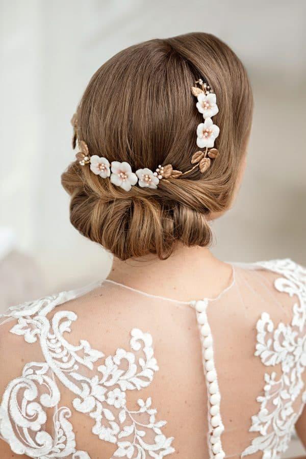 bridal hair accessory, bridal hairpiece, flower bridal hair vine, flower bridal headband, gold bridal hair vine