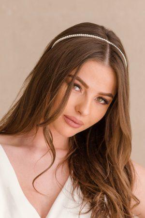 bridesmaid tiara, minimalist headband, pearl bridal headpiece, pearl wedding headpiece, pearl headband wedding