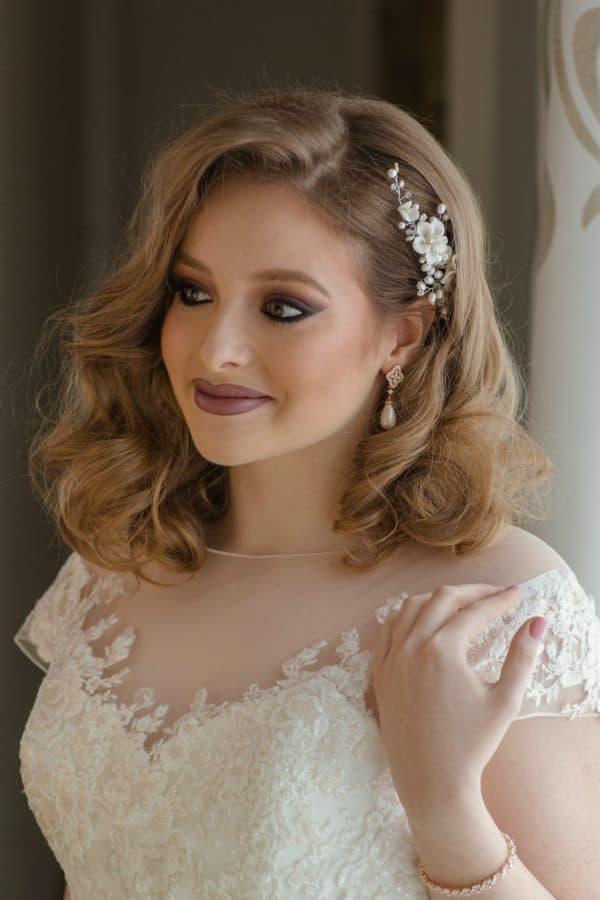 accesorii păr mireasa, pieptene romantic, pieptene flori mireasa, accesoriu par nunta, accesorii par coc
