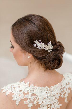 accesorii păr mireasa, pieptene flori mirese, pieptene romantic, accesorii par coc, pieptan mireasa