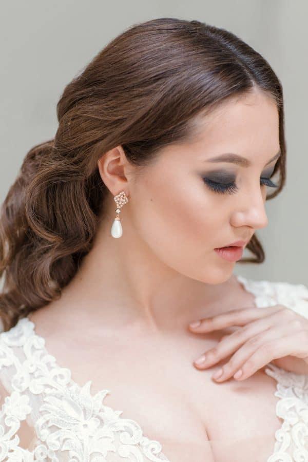 cercei filigran Art Deco, cercei argint filigran, cercei perle, cercei mireasa, bijuterii mireasa