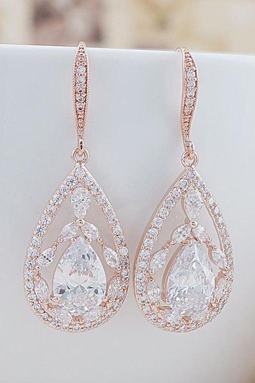 bijuterii aur roz, bijuterii mireasa, cercei mireasa, cercei cristale, bijuterii cristale