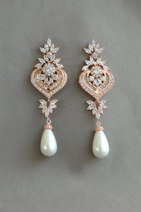 bijuterii mireasa, cercei mireasa, cercei statement Art Deco,bijuterii perle, cercei perle