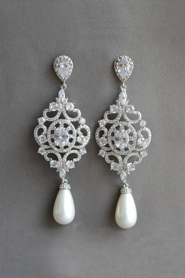 bijuterii mireasa, cercei candelabru mireasa,cercei statement Art Deco, cercei mireasa, bijuterii cristal