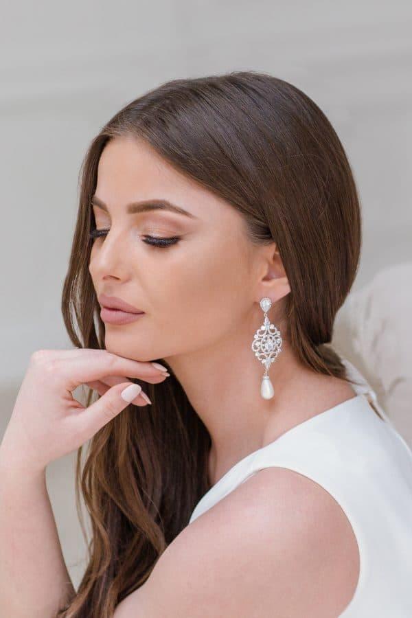 Art Deco statement earrings, bridal chandelier earrings, long earrings for wedding, bridal jewelry, crystal wedding earrings