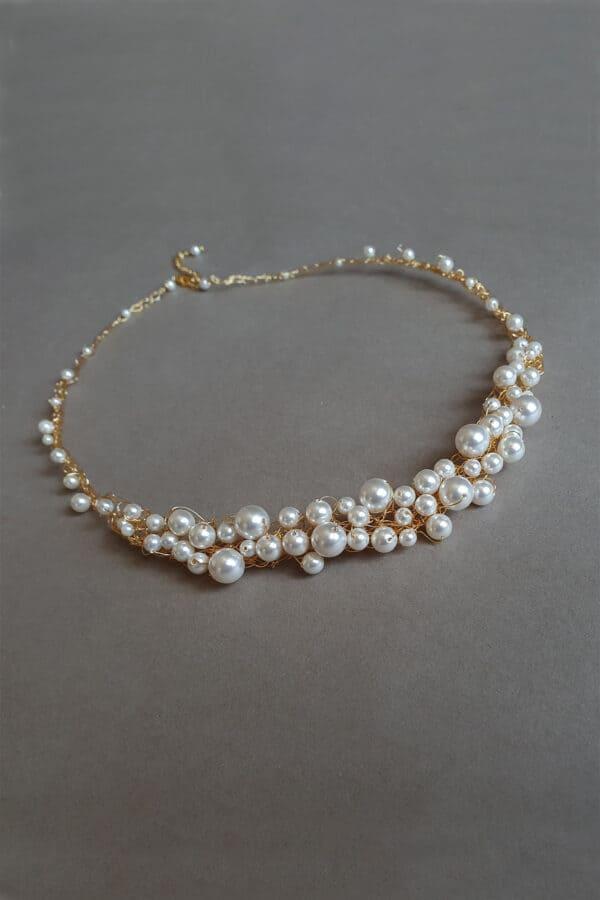bijuterii perle mireasa, colier perle mireasa, colier perle Swarovski, colier perle auriu, bijuterii pentru nunta