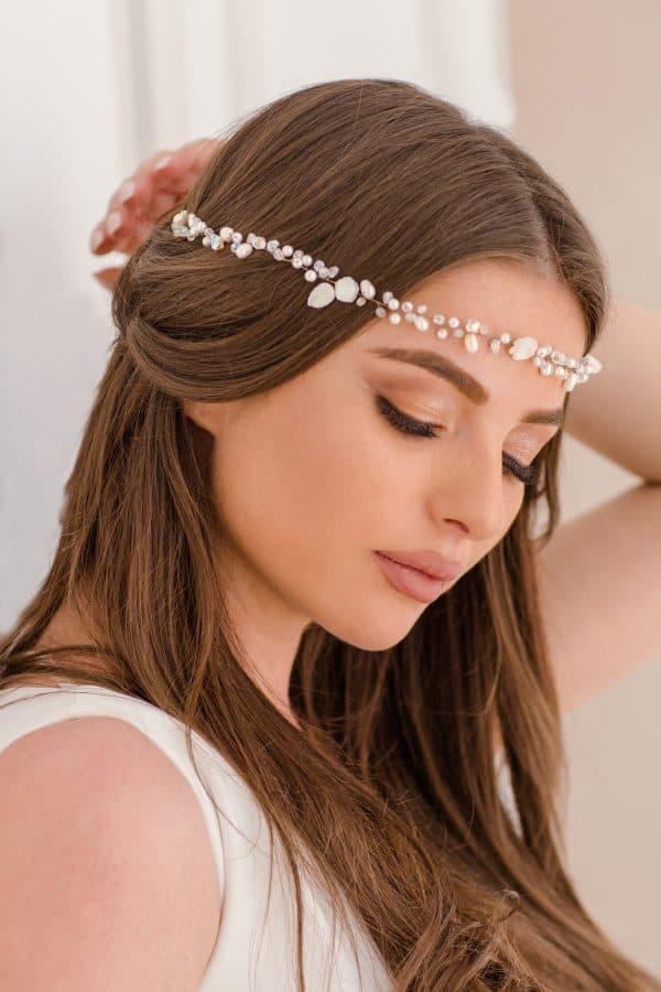 accesorii păr mireasa, bentita delicata mireasa, accesoriu romantic, accesoriu par nunta, cordeluta pentru mireasa