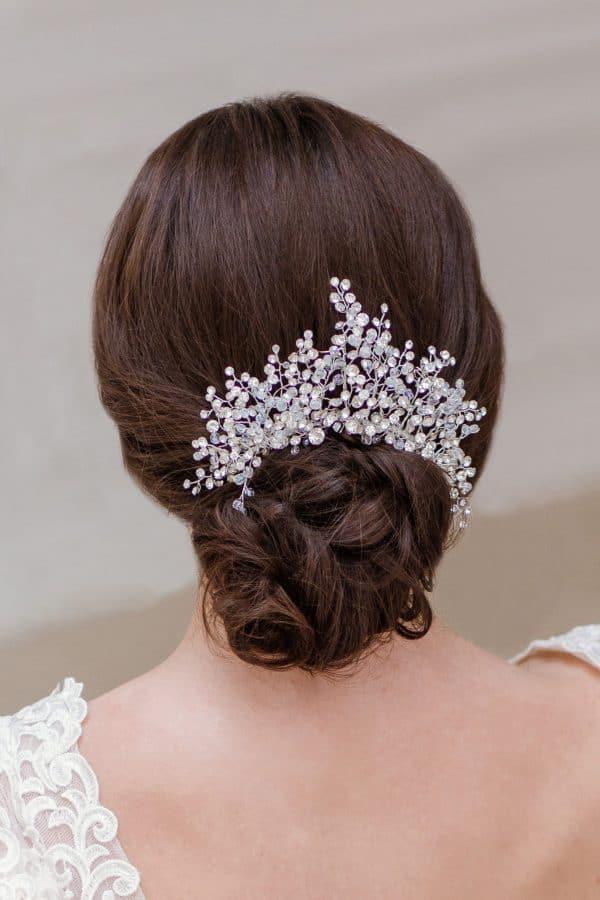 statement updo adornment, crystal wedding headpiece, gold bridal headpiece, silver headpiece, gold wedding headpiece