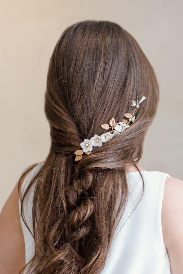 floral side accent, wedding headpiece, flower headpiece, bridal headdress, boho headpiece
