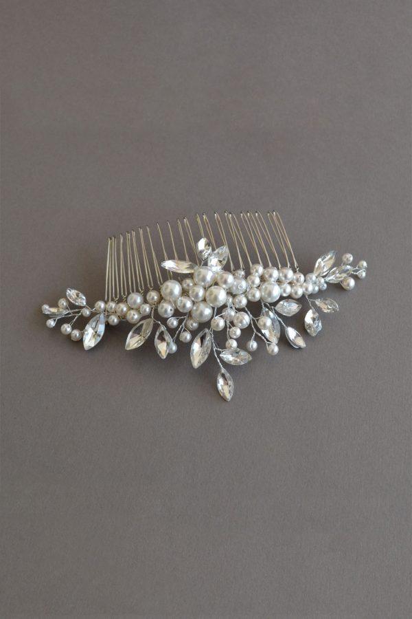 accesoriu coc mireasa, accesorii păr mirese, pieptene cristale mireasa, pieptene perle mireasa, accesorii par nunta