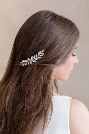 crystal side accent, silver bridal headpiece, wedding hair accessories, bridal hair accessories, wedding hair pieces