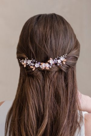 bridal floral headdress, rose gold bridal headpiece, wedding hair accessories, bridal hair accessories, wedding hair pieces