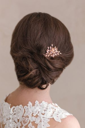 small rose crystal hairpiece, crystal bridal headpiece, rose gold hair piece, rose gold headpiece, rose gold bridal hair piece