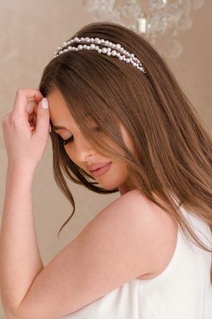 bridesmaid tiara, pearl bridal headband, pearl headband wedding, ivory pearl headband, flower girl pearl headband
