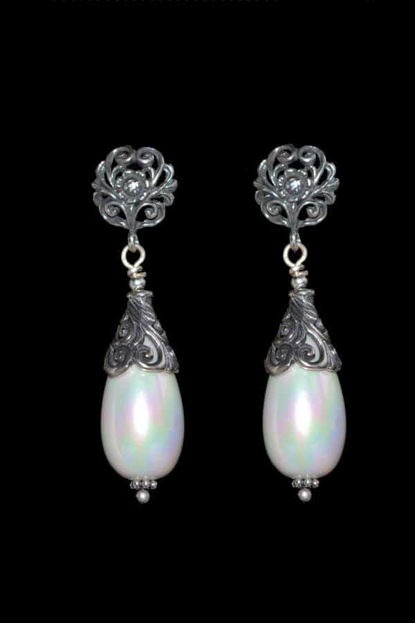 cercei cu perle, cercei vintage mireasa, cercei argint filigran, cercei argint antichizat, bijuterii mireasa
