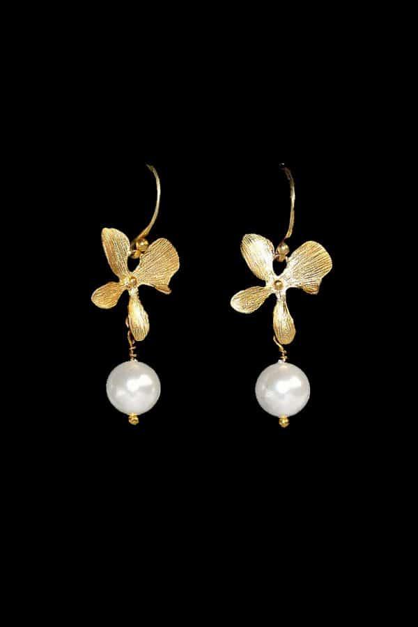 bijuterii perle mireasa, cercei orhidee mireasa, cercei perle mireasa, bijuterii pentru mirese, mireasa romantica