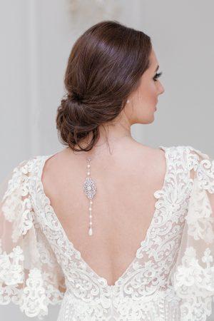 pearl backdrop necklace, wedding backdrop necklace, art deco backdrop necklace, bridal back jewellery, vintage backdrop necklace
