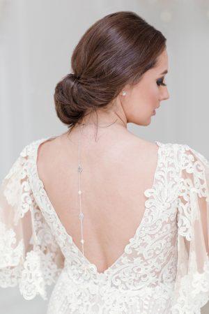 Swarovski bridal necklace, backdrop necklace, necklaces for low back dresses, crystal backdrop necklace, necklace for open back dress