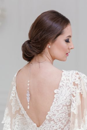 bridal backdrop necklace, necklace for backless dress, backdrop necklace, crystal backdrop necklace, silver backdrop necklace