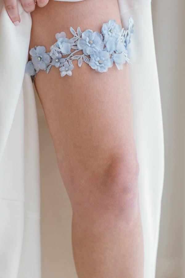 lace wedding garter, single garter, something blue garter, blue lace garter, light blue wedding garter