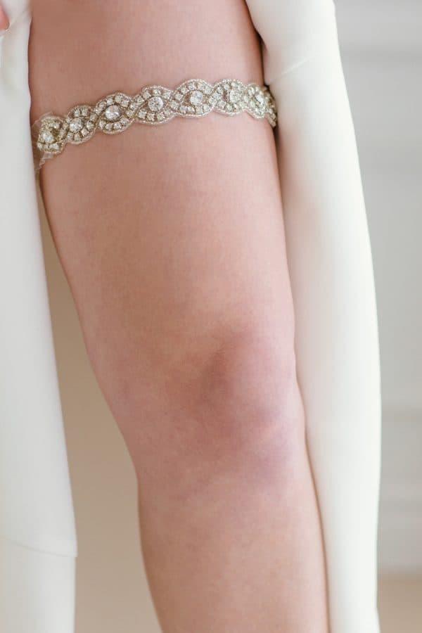 bridal shower gifts, crystal bridal garter, single garter, toss garter, vintage garter