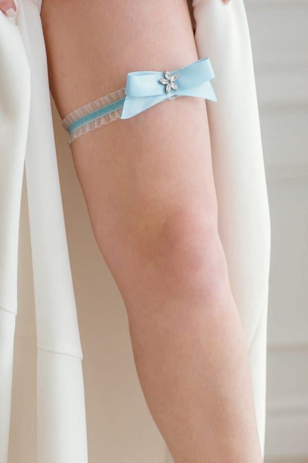 blue wedding garter, blue bridal garter, blue satin garter, single garter, something blue garter