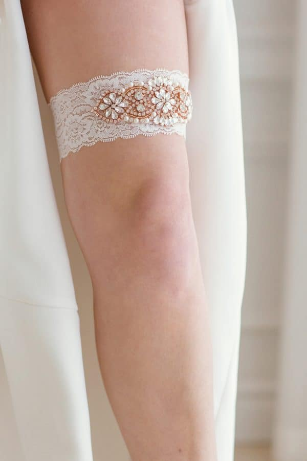 bridal shower gifts, single bridal garter, vintage wedding garter, rose gold wedding garter, bridal accessories