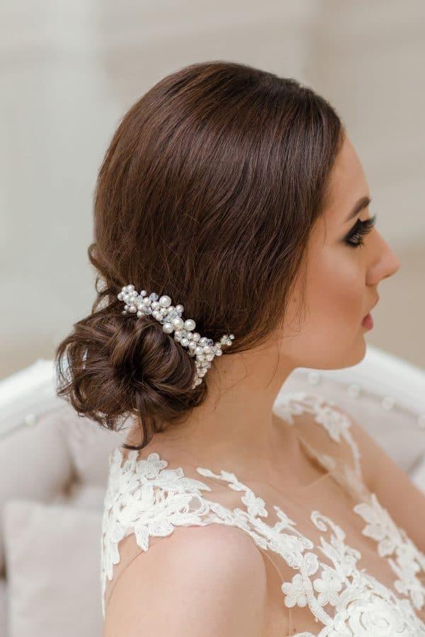 wedding haircomb, pearl haircomb, pearl and crystal haircomb, bridal hairpiece, pearl headpiece