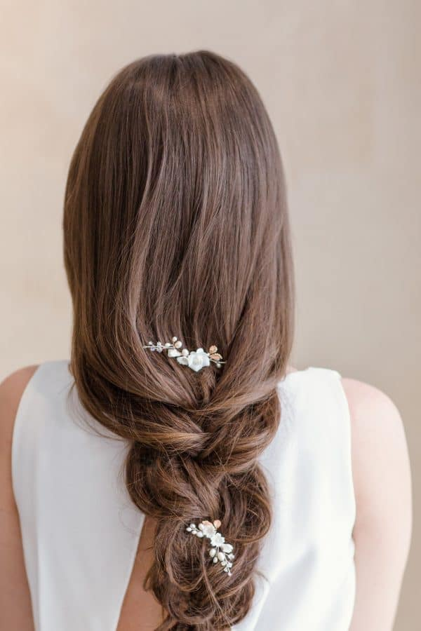 bridal hair accessories, bridal hair pins, floral hair pins, rose gold wedding hair pins,flower hairpiece