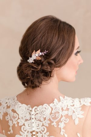 bridal hair accessory, bridal side comb, wedding hair flowers, blush haircomb, bridal comb