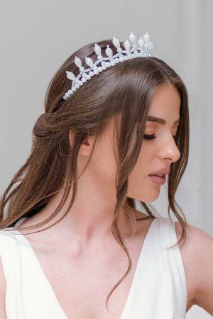 opal bridal tiara, royal wedding crown, statement bridal headpiece,wedding hair piece, crystal hair piece