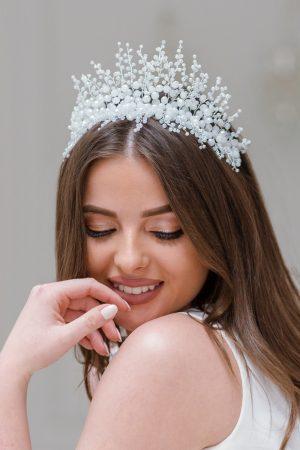 opalescent bridal crown, statement bridal crown, statement bridal headpiece, crystal hairpiece, wedding hair piece