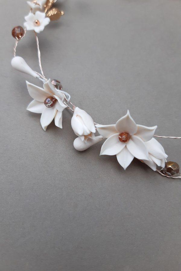 accesorii păr mireasa, bentita flori mireasa, cordeluta flori mireasa, accesoriu romantic, accesoriu par nunta