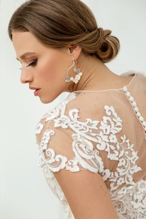 floral bridal earrings, bridal statement earrings, silver wedding earrings, bridal jewelry, creole earrings