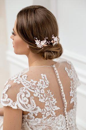 pearl bridal haircomb, bridal haircomb set, rose gold bridal hair combs, rose gold wedding hair pieces, flower headpieces