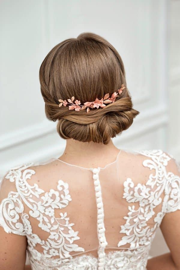 wedding haircomb, floral bridal headpiece, rose gold hair piece, gold pink bridal hair comb, wedding hairpiece