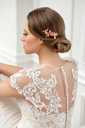 pieptene flori roz pentru mireasa, accesoriu roz pentru coc, accesorii par mireasa, accesorii de par pentru nunta, accesorii cu flori pentru par