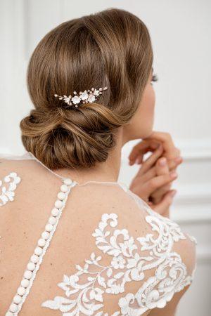 accesoriu păr mirese, pieptene flori mireasa, accesoriu flori nunta, pieptan mireasa, accesoriu cu perle pentru par