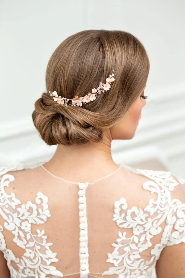 floral bridal hair comb, wedding hair piece, bridal accessory, flower hairpiece, champagne bridal comb
