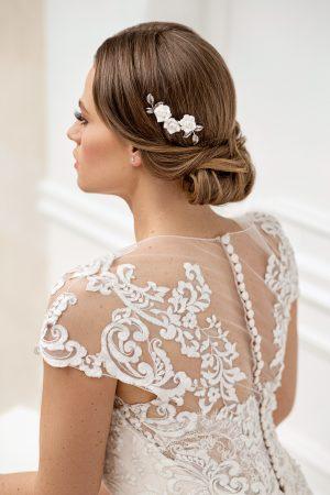 Accesoriu mirese, pieptan mirese, pieptene mireasa, pieptene flori albe, accesoriu flori nunta