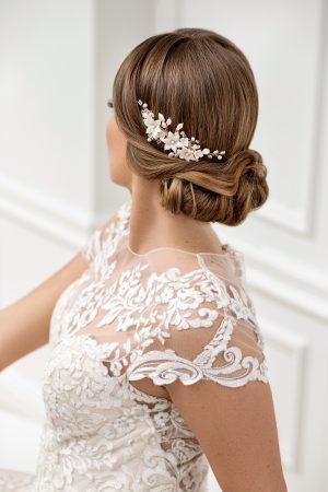 wedding haircomb, floral pearl bridal comb, rose gold haircomb, bridal hairpiece, pearl headpiece