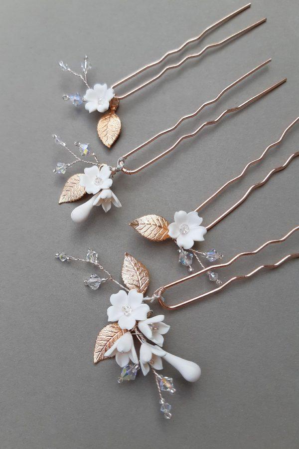 accesorii florale, ace par pentru mireasa, accesorii mirese, ace par aur roz, mireasa boema