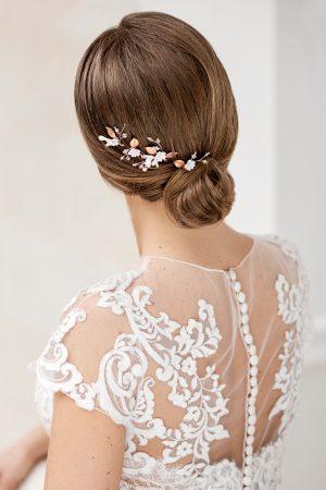 bridal hair pin set, floral hair accessories, rose gold bridal hair pins, rose gold hair pieces, rose gold wedding hair pins