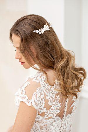 piepten mireasa, accesorii păr mireasă, accesorii par perle, coc mireasa, accesorii de par pentru nunta