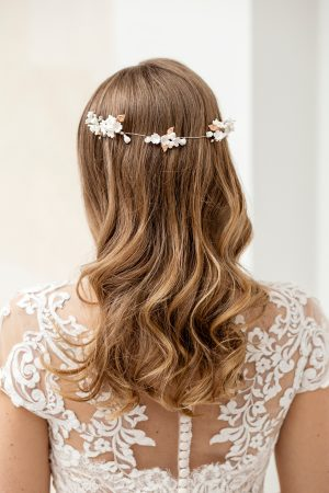 bridal hair accessory, bridal hair piece, flower hairpiece, rose gold bridal comb, bridal updo adornment