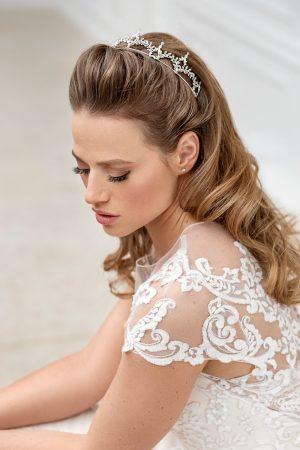 silver bridal tiara, vintage headpiece, wedding hair piece, silver bridal crown, bridal hair accessories