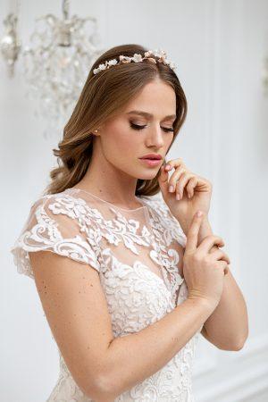 rose gold bridal tiara, rose gold wedding crown, rose gold floral headband ,wedding headpiece, floral bridal crown